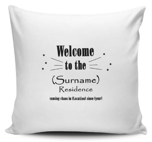Personalised Welcome To The Family Residence Cushion Cover